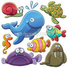 Иллюстрации шаржа различных морских животных коллекции