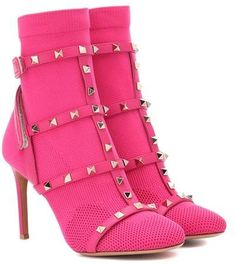 """Valentino Garavani presents the newest member of the Rockstud family for Fall the Bodytech ankle boots. Crafted in Italy from eye-popping """"disco pink"""" technical knit, the design features a tonal leather cage at the foot . Low Heel Ankle Boots, Velvet Ankle Boots, Platform Ankle Boots, Leather Ankle Boots, Ankle Booties, Heeled Boots, Bootie Boots, Shoe Boots, Valentino Shoes"""