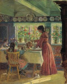 Laurits Tuxen: Pouring the morning coffee - (1906)