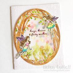 My Monthy Hero August Kit - Shaker Watercolored Card by Helen Gullett-Love the vellum shaker!