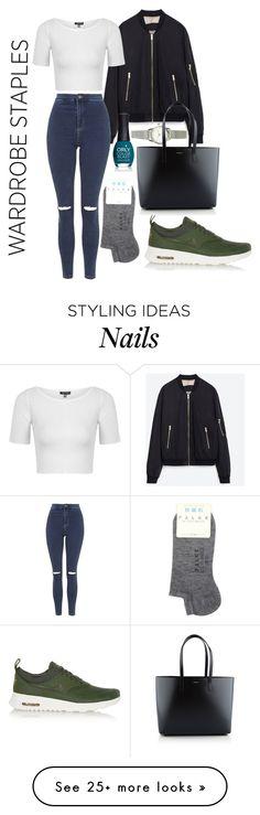 """Wardrobe Staple: White T-Shirt"" by jessjackson44 on Polyvore featuring Zara, H&M, Topshop, NIKE, ORLY, Yves Saint Laurent, Falke, WardrobeStaple, denim and nike"