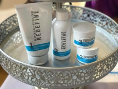REDEFINE is a comprehensive skincare regimen that layers cosmetic ingredients and potent peptide technology to help defend against and reduce the visible signs of aging for noticeably firmer, smoother, flawless-looking skin. The REDEFINE Regimen features four full-size products: Daily Cleansing Mask 125 mL/4.2 fl. oz., Pore Minimizing Toner 125 mL/4.2 fl. oz., Triple Defense Treatment SPF 30 30 mL/1.0 fl. oz., and Overnight Restorative Cream 30 mL/1.0 fl. oz.
