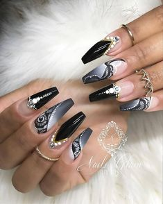 If you make your nail workmanship with ombre dull long acrylic coffin nails keep. Black Nail Designs, Beautiful Nail Designs, Acrylic Nail Designs, Nail Art Designs, Cute Acrylic Nails, Cute Nails, Pretty Nails, Gel Nails, Pastel Nails