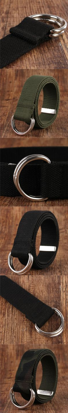Canvas Belt Men 2017 Double Loops Double Rings Buckle Waistband Waist Camouflage Army Military Belt for Men 115 Cm 18 Colors