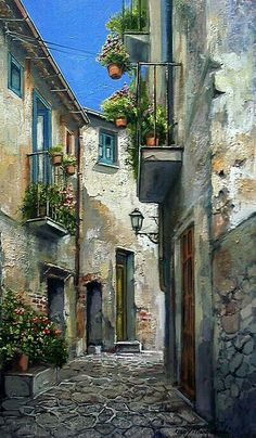 Flowered Alley ~ Francis Mangialardi Notice all the colors and textures. Watercolor Art, Landscape Paintings, Fine Art, Beautiful Paintings, Watercolor Landscape, Art And Architecture, Art Pictures, Landscape Art, Pictures To Paint
