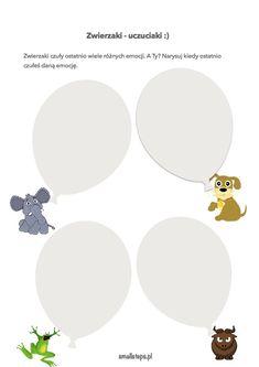 Zwierzaki – uczuciaki :). Karta do pracy z dzieckiem. Educational Crafts, School, Speech Language Therapy, Visual Arts
