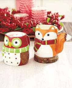 Winter Fox & Owl Tabletop Collection: Set of 2 Mugs