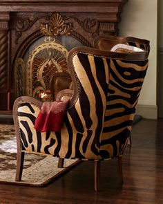 Massoud Chocolate Zebra Wing Chair