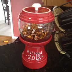 "End of the year teacher gift. Candy jar made with terra cotta pots and a glass bowl. Filled with ""30 kisses from 30 kids""."