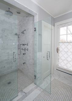 White tile shower w glass strip home bathrooms - How much to build a new bathroom ...