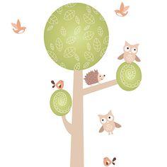 Adesivo de Parede Árvore Mimo Baby Grudado Colorido (66x186cm)