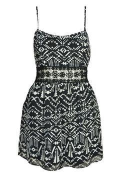 #ROMWE Geometrric Print Lace Trimming Black Dress
