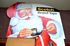 Vintage Scotch Brand Tape Santa Claus Cardboard Display Store Sign #ScotchBrandTape