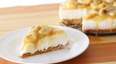 Recipe with video instructions: This creamy no-bake cheesecake is topped with bananas caramelized in rum — a decadent and delicious dessert! Ingredients: Crust:, 200g graham cracker crust, 65g unsalted butter, melted, Filling:, 400g cream cheese, room temperature, 400ml whipping cream, 80g sugar, ¼ cup lemon juice, ½ tsp vanilla extract, 2 tbsp rum (or 2 tsp rum extract), 2 tsp powdered gelatin, 2 ½ tbsp water, Topping:, ¼ cup unsalted butter, ¼ cup brown sugar, ¼ cup rum, 2 bananas, sliced…