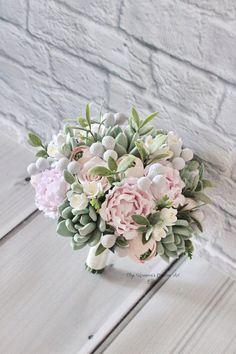 Blush Bouquet, Peonies Bouquet, Pink Peonies, Bouquet Succulent, Wedding Bouquets, Wedding Flowers, Bridesmaid Bouquets, Pale Pink Weddings, Clay Flowers
