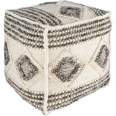 HGPF-001 - Surya | Rugs, Lighting, Pillows, Wall Decor, Accent Furniture, Decorative Accents, Throws, Bedding Hygge, Living Room Pouf, Living Rooms, Square Pouf, Pouf Ottoman, Diamond Pattern, Accent Pieces, All Modern, Grey And White