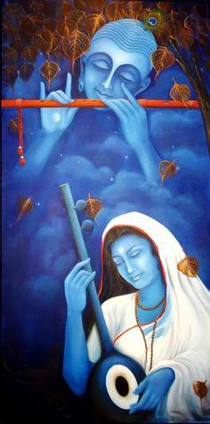 who loves Lord Krishna with all her heart Krishna Painting, Krishna Art, Krishna Images, Lord Krishna, Radhe Krishna, Hanuman, Indian Folk Art, Indian Artist, Om Namah Shivaya