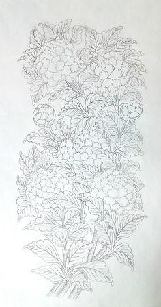 7번째 이미지 Colouring Pages, Coloring Books, Bijoux Wire Wrap, Korean Painting, Pencil Design, Floral Drawing, Thai Art, Silk Art, Korean Art