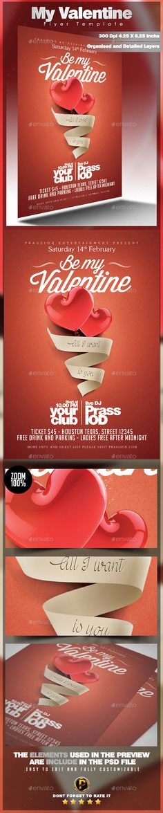 My Valentine Flyer Template Size 4×6 inch ( .25 inch bleed area ) Print Ready ( CMYK, 300DPI ) Easy to edit and fully customizable Include font download link in help file Organised and Detailed Layers The files contains groups All text are editable