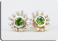 Faceted Genuine Green Peridot Sterling Silver Flower Earrings $127.50