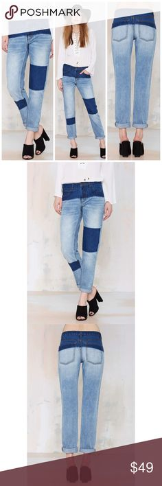 """Nasty Gal Courtshop Shadow Boyfriend Jeans Denim Nasty Gal Courtshop Boyfriend Jeans $98 retail brand new with tag! Step out of the shadows in the shadow boyfriend jean by courtshop. They have dark wash detailing, exposed yellow stitching, the classic 5-pocket style, and a button fly closure. Loose fit, unlined. Dress them up with a cami, structured blazer, and suede pumps, or rock them with your favorite vintage tee and kicks. Cotton. Runs true to size. Length 30"""" Size 27: waist flat 14""""…"""