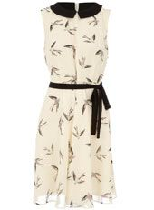 Cream songbird tea dress