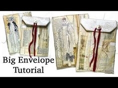 How to create a Big Envelope Tutorial Pt 3| Elegant and Grungy | JJ #213 - YouTube Envelope Tutorial, All Video, Junk Journal, Elegant, Mixed Media, Big, Create, Youtube, Clutch Bags