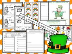 ST. PATRICK'S DAY MATH AND LITERACY FUN! Math, Literacy and Science! Lots of fun and learning to your plans. Adorable Leprechaun glyph that includes patterns and directions, a data analysis recording sheet and writing sheet. An original poem written by me and activities for a pocket chart, a fun math activity about fair shares, a skittles mat activity, math journal prompts,a picture sort based on the vowel digraphs ai and oa and a recording sheet. A Yummy leprechaun snack...much more!