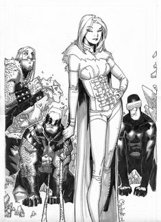 Chris Bachalo - Emma Frost, the White Queen (and friends!) Comic Art
