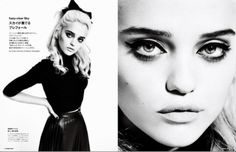 Sky Ferreira channeling Madonna with smokey eyes, sculpted cheekbones, and nude lips.