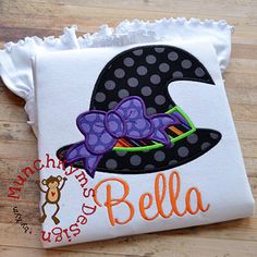 Witch Hat with Bow Halloween Applique Shirt - Girl's shirt - Halloween Applique Designs by SouthernPrepBoutique on Etsy https://www.etsy.com/listing/247088963/witch-hat-with-bow-halloween-applique