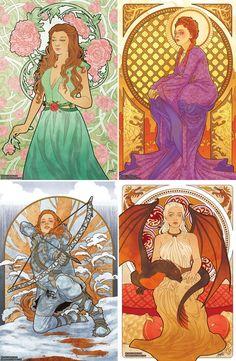 Game of Thrones girls, Art Nouveau style – Game Over Game Of Thrones Bar, Dessin Game Of Thrones, Game Of Thrones Artwork, Game Of Thrones Drawings, Margaery Tyrell, Sansa And Margaery, Daenerys Targaryen, Khaleesi, Sansa Stark