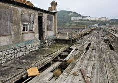 The abandoned Birnbeck Pier in Weston, super Mare, England in the Bristol Channel.