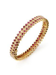 Ruby & Diamond Hinged Bangle Bracelet by Amrapali at Gilt