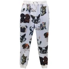 Pink Queen White Cats and Dogs Printed Ladies Loose Jogging Sweatpants ($25) ❤ liked on Polyvore featuring activewear, activewear pants, white, jogger sweat pants, sweat pants, jogger sweatpants, white sweatpants and white sweat pants