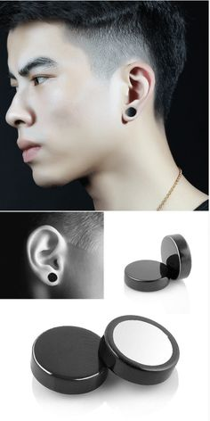 Magnetic Earrings Stainless Steel Non Pierced: This magnetic non pierced stud earrings made of durable high quality stainless steel. It is safe and comfortable, an ideal fashion accessory for men to use in their daily life. Great accessory and a unique gift.