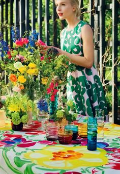 Marimekko Ursula White/Multi Short Tablecloth Like a scene from a sweet, summertime dream, dine atop a glorious garden of lush leaves and beautiful blossoms with the Marimekko Ursula White/Multi Short Tablecloth. Sweet peas, poppies and peppergra. Flash Design, Ursula, Scandinavian Style, Flower Power, Finland, Color Pop, Candle Holders, Bloom, Prints