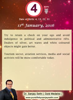 #Numerology‬ predictions for 11th January'16 by Dr.Sanjay Sethi-Gold Medalist and World's No.1 #AstroNumerologist.