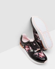 Floral print trainers - Black | Shoes | Ted Baker