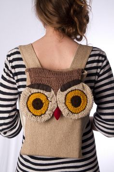 small beige brown mustard crochet owl backpack  ipad by Marinsss