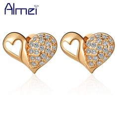 Find More Stud Earrings Information about New Full Heart Earrings Stud 925 Sterling Silver Micro Pave CZ Zircon Fashion Vintage Jewelry Valentine's Day Gift Ulove R452,High Quality jewelry wardrobe,China jewelry rose Suppliers, Cheap jewelry chocolate from Almei Jewelry Store on Aliexpress.com