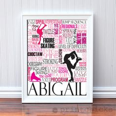 (Hey, it's even my name!) Figure Skating Print,  Personalized Ice Skating Typography Print- Ice Skating Gift - 11 x 14. $22.00, via Etsy.