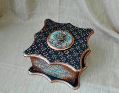 """Купить Шкатулка """"Синее царство"""" - тёмно-синий, шкатулка ручной работы, шкатулка для украшений"""