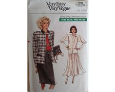 Vintage 80's Vogue Pattern 7067 Cardigan Jacket by CartrefEclectig