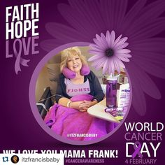 #Repost @itzfrancisbaby with @repostapp.  February 4th is World Cancer Day! As many of you know our beloved @jancfrank mom of @jdfffn currently has cancer. I made this picture as a support for her because we ALL love her and Jason. So please let's share this to raise cancer awareness and to show @jancfrank how much she is loved!! Thank you!! #TeamJDF #welovemamafrank #cancerawareness #worldcancerday #teammamafrank #fckcancer #cancersucks #faithhopelove #beatcancer #fighter by seventysuperbee