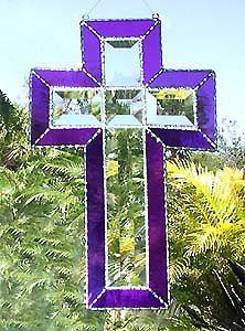 Stained Glass Cross Suncatcher in Purple  by StainedGlassDelight, $34.95