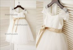 Tulle Lace Cap Sleeves Flower Girl Dress/Champagne by knothouses