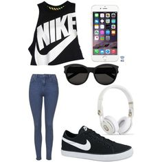 Nike outfit by elaineberumen on Polyvore featuring polyvore, fashion, style, NIKE, Topshop and Yves Saint Laurent
