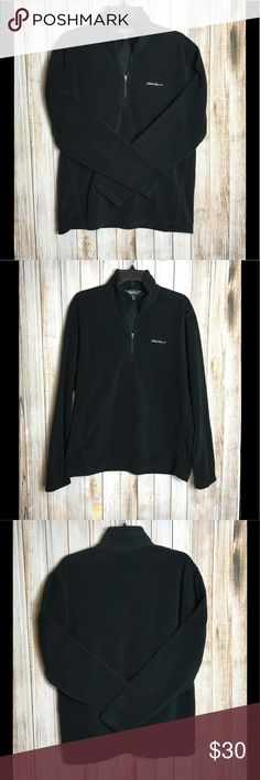 "Eddie Bauer Polartec fleece Men's Eddie Bauer Polartec fleece pullover. Lightweight fabric, perfect for fall or cool summer nights. Layer this under your winter coat too! Jet black. Pit to pit 22, pit to hem 17"", sleeve length shoulder to cuff 26"". OFFERS ENCOURAGED!  Tags: soft, layering, jacket, mockneck, hiking, fire pit, outdoors, outerwear Eddie Bauer Jackets & Coats"