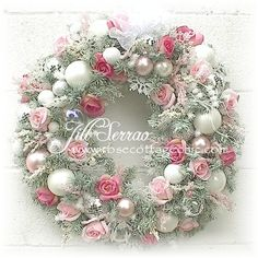"""Romantic Christmas Wreath ~ 23"""" ~ Sage w/Pink Roses, Snowflakes & More!"""